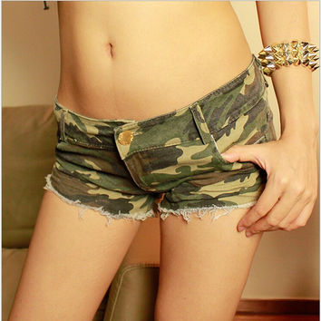 New Hot Women's Sexy Camouflage Printed Jeans Shorts Ripped Low Waist Mini Denim Shorts Summer Vintage Camo Short Pants KZ626-S