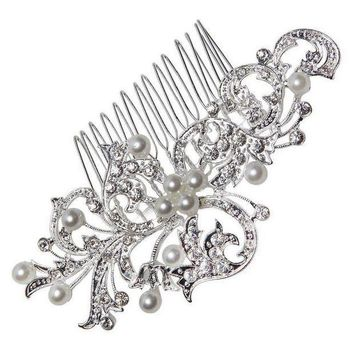 CREYCI7 Hot  Pearl Hair Jewelry Comb Flower Leaf Shape for Wedding Inserted Bride Hair Headdress Pearl Comb