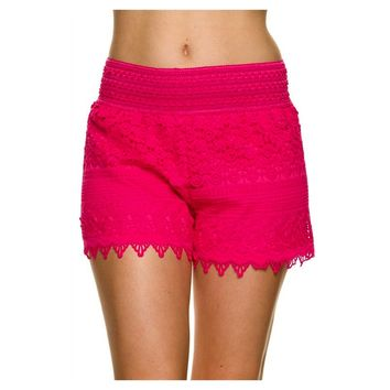 Lace Crochet Shorts, Fuchsia