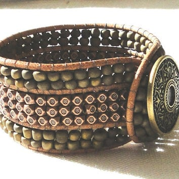 CUSTOM leather cuff bracelet wrap chan luu boho surfer zen earthly indie ethnic style with Tibetan copper faceted & olive green glass beads