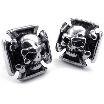 Gothic Cross Skull Ear Studs - Stainless Steel - Black Silver