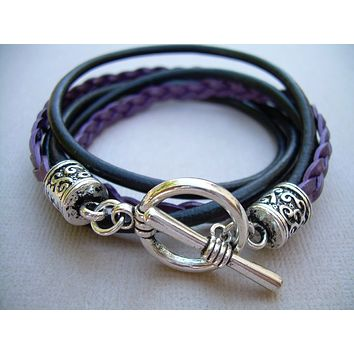 Leather Wrap Bracelet, Womens Bracelet, Double Wrap Bracelet, Womens Jewelry, Leather Bracelet, Purple, Womens Gift