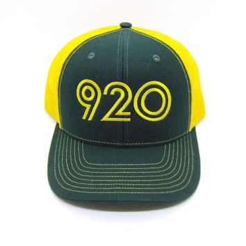 Retro 920 Area Code Trucker Hat - Snapback Green Bay, Wisconsin