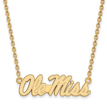 NCAA 14k Yellow Gold U of Mississippi Ole Miss Logo Pendant Necklace