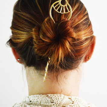 Day Dream Hoop Hair Stick, Gold Hair Stick, Silver Hair Stick, Bun Holder, Metal Hair Accessory