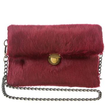 Burgundy Fur Clutch