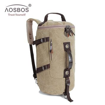 Aosbos Travel Drum Bag Portable Multifunctional Vintage Canvas Solid Backpack Large Capacity Men Women Luggage Duffle Bag