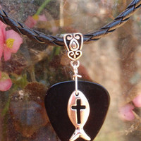 Cross Fish Leather Icthus Necklace, Guitar Pick Christian Jewelry, Choice 12 Colors Custom Size