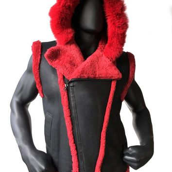 Sheepskin Jacket With Hood And Fox Fur Style #3910 MENS