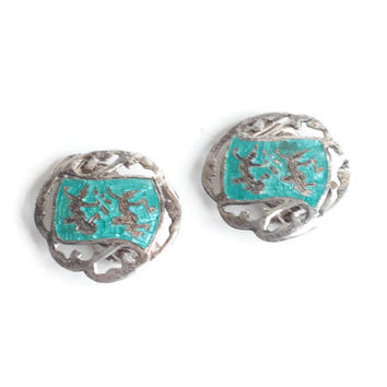Siam Sterling Aqua Enamel Earrings Two Deities Dancers Clip On Style Vintage