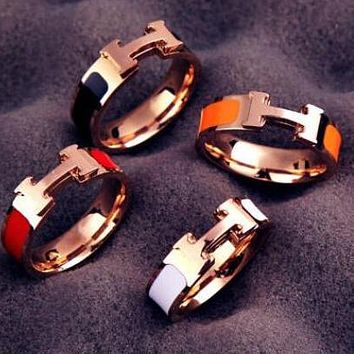 Hermes Stylish Women Men Simple H Letter Titanium Steel Couple Ring Accessories Jewelry