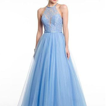 [116.69] Charming Tulle & Satin Halter Neckline A-Line Prom Dresses With Beaded Lace Appliques - dressilyme.com