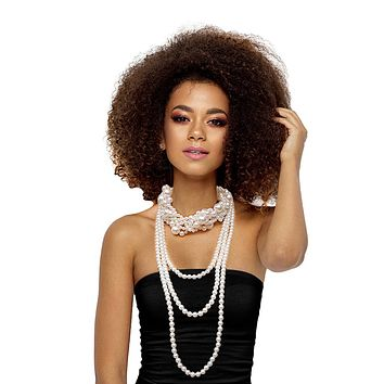 Pearl Long Choker Necklace Set