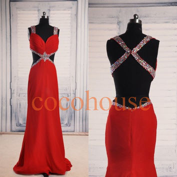 Red Mermaid Sexy Beaded Long Prom Dresses Fashion Bridesmaid Dresses Homecoming Dresses Evening Dresses Wedding Party Dresses Evening Gowns