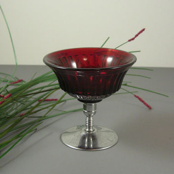 Ruby Red Glass Footed Sherbet Dish // Chrome Stem // UBlinkItsGone