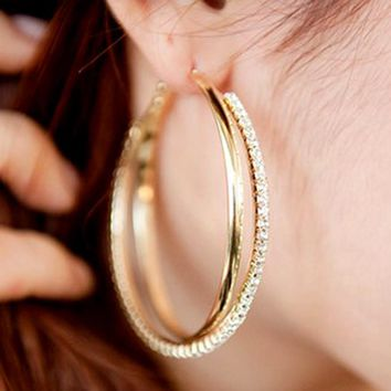 New big hoop earring for women SALE Fashion Big Round Hoop Earrings Simple Pierced Silver/Gold 2 Colors For Evening Party #E008