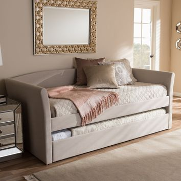 Baxton Studio Camino Modern and Contemporary Beige Fabric Upholstered Daybed with Guest Trundle Bed Set of 1