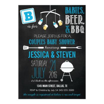 Blue Couples Baby Shower BBQ Invitation