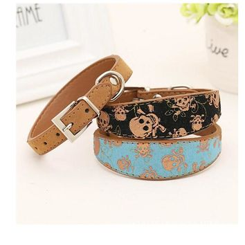Small And Large Dog Collar Cat Collars With Skull Print