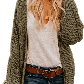 Fashion Olive Chunky Wide Long Sleeve Knit Cardigan