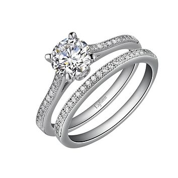 Lafonn Classic Sterling Silver Platinum Plated Lassire Simulated Diamond Engagement Ring Set (1.58 CTTW)