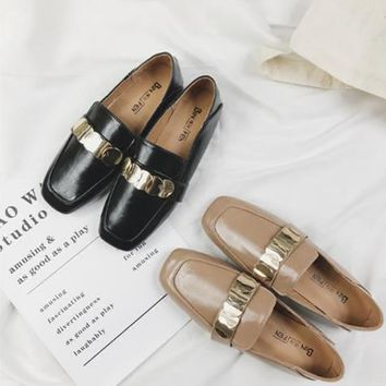 Women Fashion All-match Metal Square-toe Leather Shoes Loafer Lazy Flats Shoes