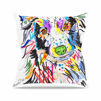 "Rebecca Fisher ""Buzz"" Multicolor Dog Throw Pillow"