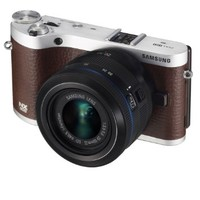 """Samsung NX300 20.3MP CMOS Smart WiFi Mirrorless Digital Camera with 20-50mm Lens and 3.3"""" AMOLED Touch Screen (Brown)"""