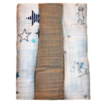 Baby Boys' 100% Cotton Double Gauze Scent Blankets - Stars and Puppies