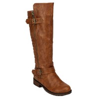 Nature Breeze Vivienne-01 Studded Quilted Leatherette Buckle Round Toe Motorcycle Boots TAN (8)