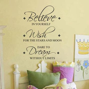 """Believe Wish Dream"" Wall Decals Removable Inspirational Sticker, size 60*45 cm"