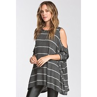 Cold Shoulder Striped Sweater - Charcoal