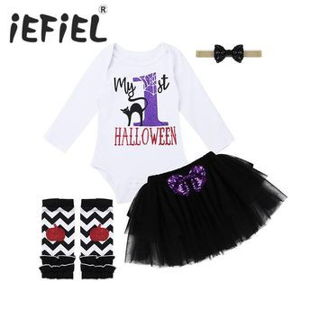 New Arrival Toddler Infant Baby Girls My First Halloween Pumpkin Cosplay Party Outfits Glittery Letters Romper with Tutu Skirt