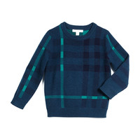 Mini Redbury Check Pullover Sweater, Dark Teal, Size 4-14,