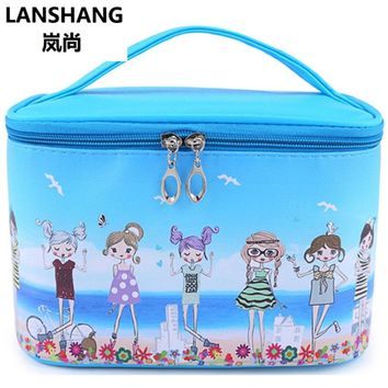 Character Girl High Capacity Cosmetic Bag High Quality Women Waterproof Travel Toiletry Bag Necessaire Make up Bags CQ111