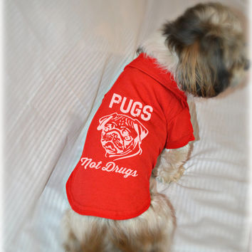 Dog Polo T-Shirt. Pugs Not Drugs Dog Shirt. Cute Dog Quotes. Pug Owner. Small Pet Clothes.