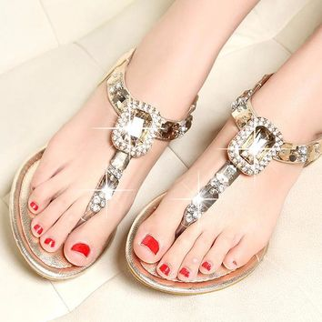 GOLD RHINESTONE BOHEMIAN LARGE JEWEL WOMENS SANDALS