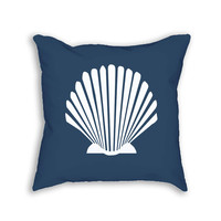 Navy Scallop Shell Decorative Throw Pillow