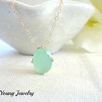 Mint green solitaire necklace, simple everyday necklace - gold filled