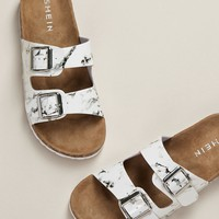 Marble Double Buckle Footbed Slide Sandals
