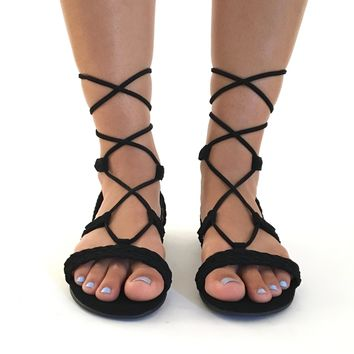 Tie It Up Sandals In Black