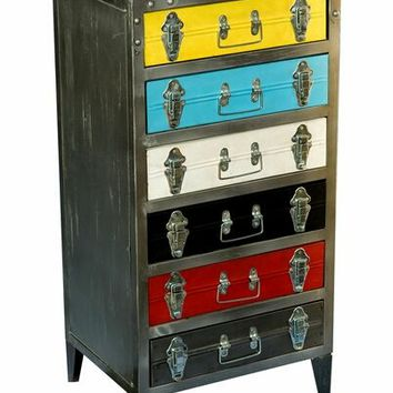 Vintage II Americana collection antique iron 6 drawer cabinet chest
