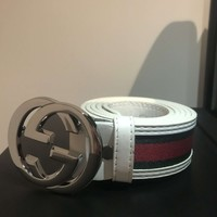 Men's Gucci Belt (White, Red & Green) 44''