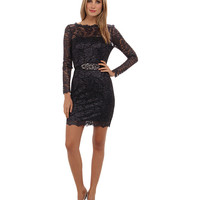 Adrianna Papell 3/4 Sleeve Foiled Lace Dress Gunmetal - 6pm.com