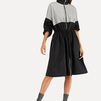 Mandarin Collar Flared Casual Dress