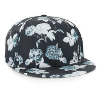 BLACK AND WHITE FLORAL SNAPBACK CAP - Hats - Shoes and Accessories - TOPMAN USA