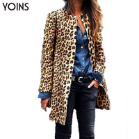 YOINS Woman Fashion Leopard Button Long Coat Ladies Long Sleeve Round Neck Slim Overcoat Casual Warm Blazer Outerwear