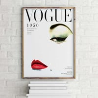 Home decor Wall art Vintage Vogue Cover Fashion wall Art 1950 Edition Fashion Poster Digital Download Printable Art Retro Poster Chic Art