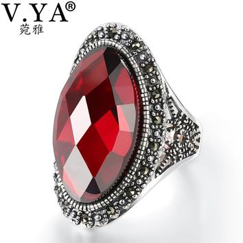 V.YA 925 Sterling Silver Red Garnet Stone Ring Luxury Jewelry Fashion Finger Rings Women Wedding Party Gift High Quality