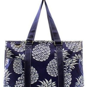 Utility Tote Multi-Pocket - Pineapple Print